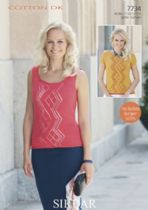 Sirdar Cotton DK Knitting Pattern - 7734 Top & Vest Top